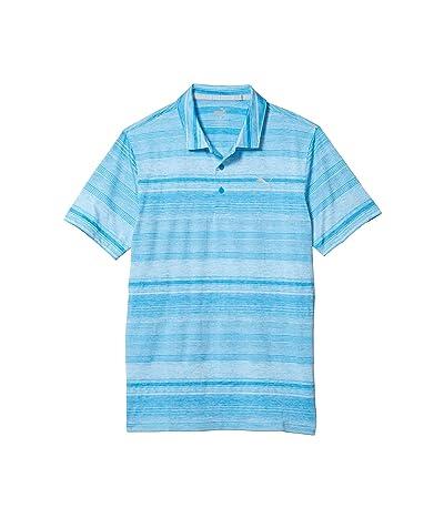 PUMA Golf Variegated Stripe Polo (Ibiza Blue Heather) Men