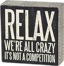 لافتة مربعة الشكل بتصميم مخطط من Primitives by Kathy 25172، مقاس 12.7 سم × 12.7 سم، Relax We're All Crazy