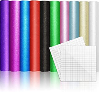 """GlitterAdhesiveVinyl Pack12""""x12"""" 10 Assorted Sheets forCraft LetteringSigns 8 Colors with 2 Transfer"""