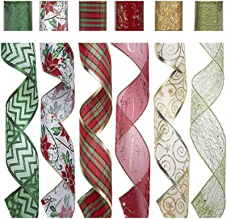 SANNO 36 Yards Christmas Wired Ribbon Assorted Plaid Sparkling Decorations Organza Swirl Sheer Glitter Crafts Gift Glitter Tulle Ribbon Floral Colorful Christmas Decoration Poinsettia Plaid Gold