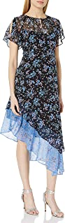 Nanette Lepore Womens 328-4396 Desdemona Flutter Silk Print Asymetrical Midi Dress Short-Sleeve Dress - Black