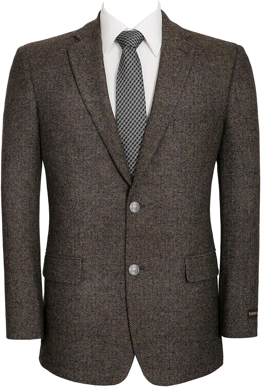 Men's Wool Blend Blazer Classic Fit Tweed Sport Coat Modern Winter Suit Jacket