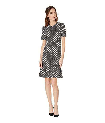 Donna Morgan Short Split Sleeve Textured Knit Fit and Flare (Black/Ivory Multi) Women