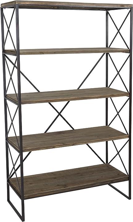 Libreria in legno e metallo a scaffale hwc-c10  5 ripiani 40x102x174cm 57590+57591