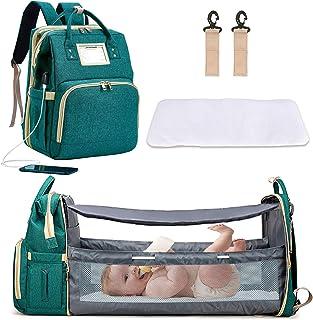 Diaper Bag with Changing Station, Portable Diaper Bag with Bassinet, 3 in 1 Travel Diaper Bag for Baby, Green Foldable Diaper Crib (Bag + Crib + USB)