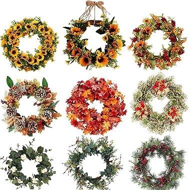 Deco Noël Exterieur Porte Couronne Artificielle Décorations de Noël Vert for la Maison Feuilles Garland for la Fleur décorati