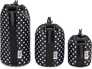 USA GEAR FlexARMOR Protective Neoprene Lens Case Pouch Set 3-Pack - Small, Medium and Large Cases Hold Lenses up to 70-300mm with Drawstring Opening, Attached Clip, Reinforced Belt Loop (Polka Dot)