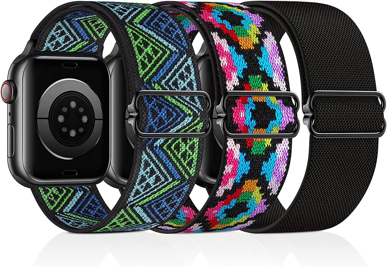 ALTOUMAN Stretchy Nylon Solo Loop Bands Compatible with Apple Watch 38mm 40mm 41mm 42mm 44mm 45mm, Adjustable Braided Sport Elastic Straps Women Men Wristbands Compatible with iWatch Series 7/6/5/4/3/2/1 SE, 3 Packs