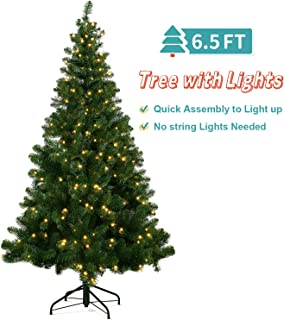 OUSFOT Christmas Tree Prelit 6.5 ft w/ 320 LED Lights 8 Modes Warm White Light PVC Artificial Christmas Tree Easy Assembly Foldable Stand with Metal Legs Indoor