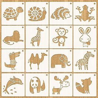 HOWAF 16 pièces Ensemble de pochoirs de Dessin pour Enfants,Réutilisable Plastique Pochoir pour la création d'enfants, Scr...