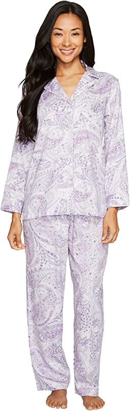 LAUREN Ralph Lauren - Petite Long Sleeve Notch Collar Pajama