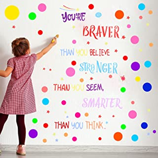 288 Pieces Polka Dots Wall Sticker Circle Wall Decal Motivational Phrases Wall Decals You're Braver Than You Believe Stick...