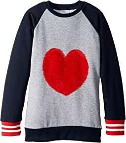 Furry Heart Baseball Sweatshirt (Toddler/Little Kids/Big Kids)