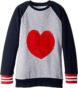 Furry Heart Baseball Sweatshirt (Toddler/Little Kids/Big Kids)