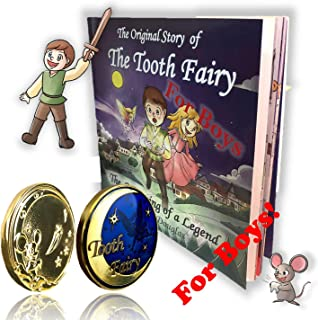 for Boys Tooth Fairy Gift Set Gold Coin and Tooth Fairy Book for Boys
