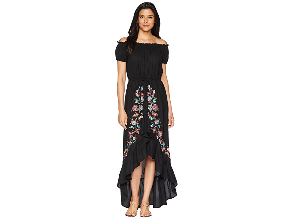 Scully Sophia Off the Shoulder Beautifully Embroidered Dress (Black) Women