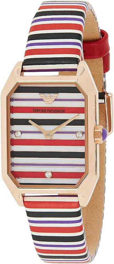 Emporio armani, orologio per donna, in acciaio, quadrante in madreperla, cinturino in pelle multicolor AR11301