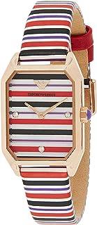 ساعة بسوار من الجلد ومينا باللون الاسود للنساء من امبوريو ارماني - AR11301