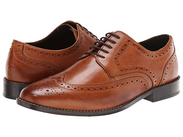 1920s Boardwalk Empire Shoes Nunn Bush Nelson Wing Tip Dress Casual Oxford Cognac Mens Dress Flat Shoes $59.95 AT vintagedancer.com