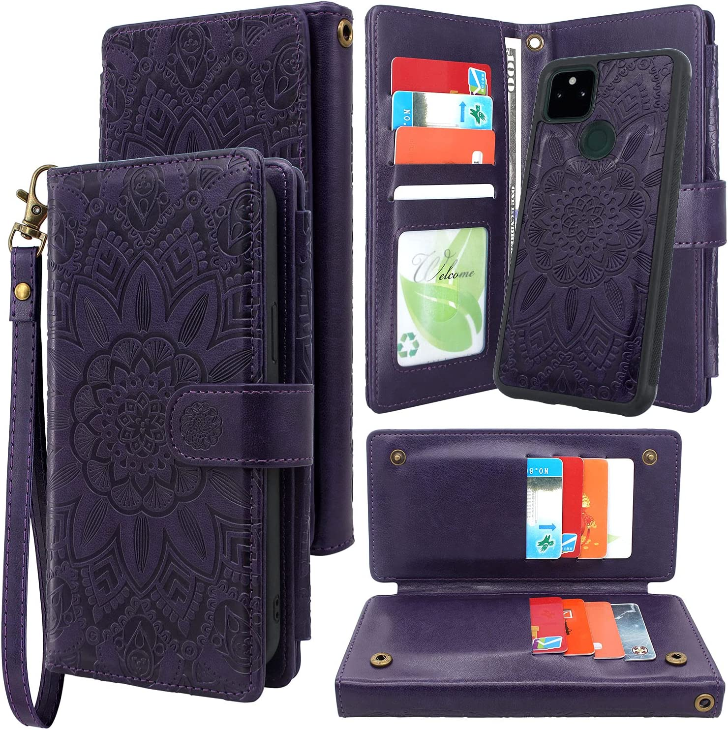 Harryshell Detachable Magnetic 12 Card Slots Holder Wallet Case PU Leather Flip Protective Cover with Wrist Strap Kickstand for Google Pixel 5A 5G (2021) Floral Flower (Purple)