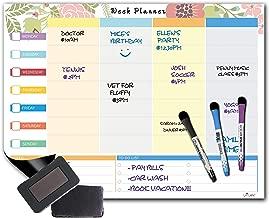 Vivi Velvet - Weekly Day/Family Planner Magnetic Dry Erase White Board - 16''x12'' - 3 Magnetic Fine Tip Markers - 1 Magnetic Eraser