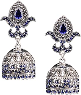 Darsharj Jewellers 92.5 Pure Silver Ear-Jhumka For Girls & Women- Marcasite