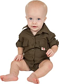 Bull Red Baby Boys PFG Vented Fishing Shirt Button Up One Piece (8 Color Options)
