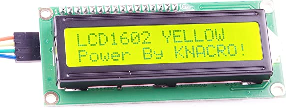 KNACRO IIC/I2C/TWI 1602 Serial Yellow Backlight LCD Module for Arduino UNO R3 MEGA2560 16 X 2, 1602 White Letters on Green Display