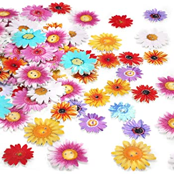 15 X Tamaños Surtidos Floral Lila Stock Flor Botones Madera Coser Costura