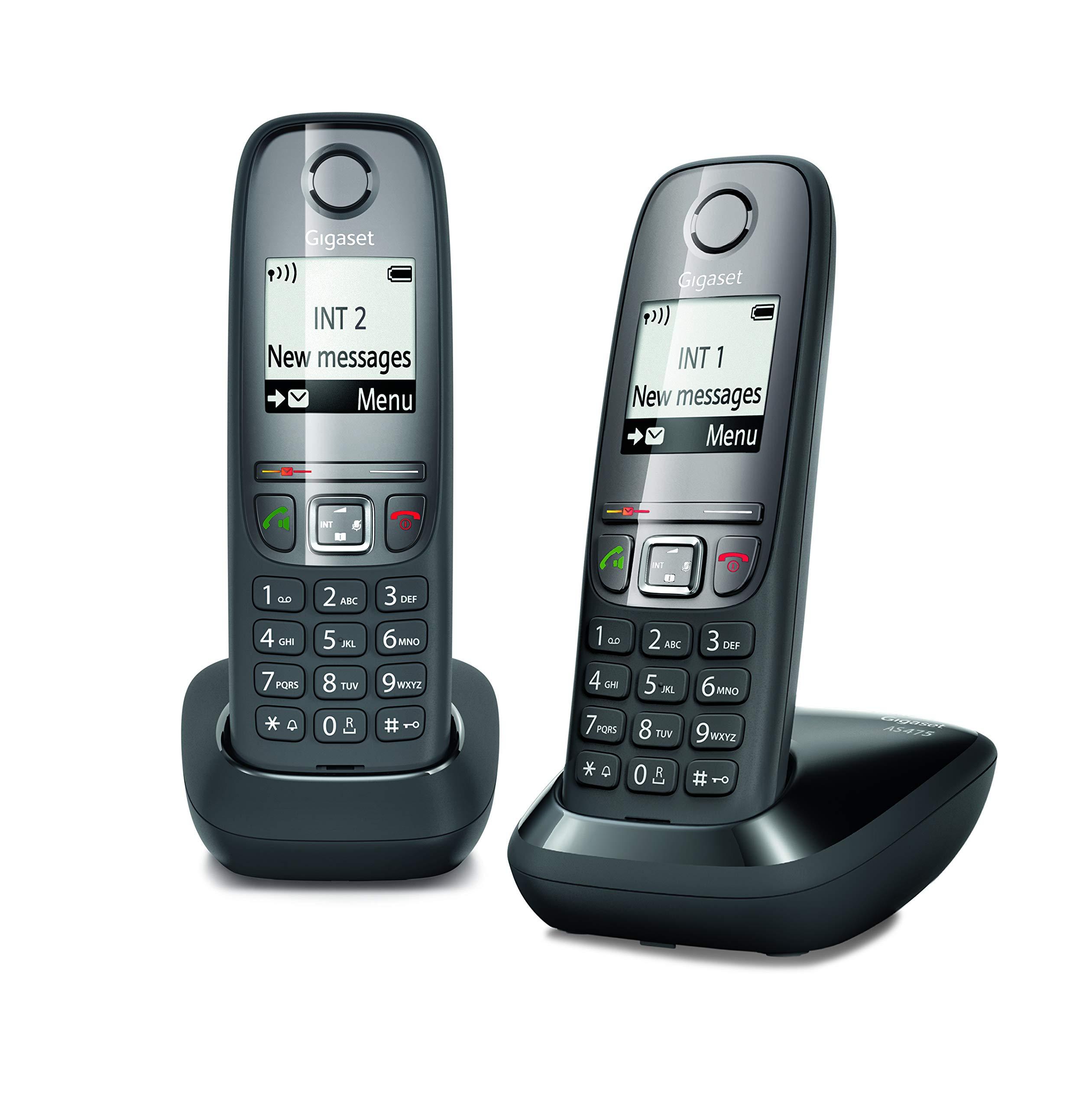 Gigaset AS 475 Duo Teléfono inalámbrico, Llamadas Entre Interior/interfono, Agenda Personalizable, Transferencia de Llamadas, Negro [Versión Importada]: Amazon.es: Electrónica