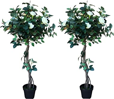 AMERIQUE, Green & White Pair 4 Feet Gorgeous & Lifelike White Artificial Tree 12 Rose Flowers and Twist Trunks, with Nursery Pot, Real Touch Tech, 485 Leaves, 2