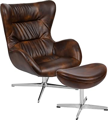 Flash Furniture Bomber Jacket LeatherSoft Swivel Wing Chair and Ottoman Set