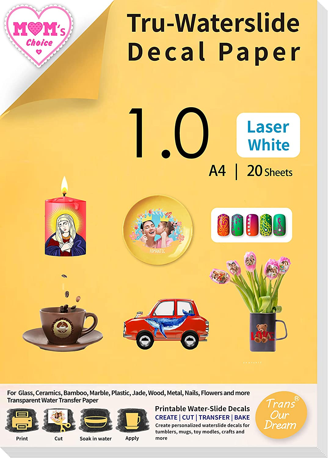 Max 81% OFF TransOurDream Water Slide Decal 35% OFF Paper Laser for 2 WHITE Printer