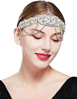 BABEYOND 1920s Flapper Headpiece Headband Great Gatsby Pearl Chain Headband for Women (White)