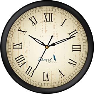 Story@Home Round Shape Plastic Modern Wall Clock with Glass for Home/Kitchen/Living Room/Bedroom/Office - 10 in, Black