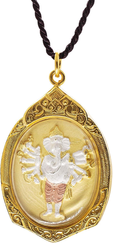 Large - 2 inch Vira Ganapati Ganesh - Sixteen-Armed - hand painted Amulet Hindu Pendant