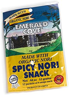 Emerald Cove Silver Grade Organic Spicy Nori (Toasted Seaweed) Snacks, 48-Count Packets (Pack of 6)
