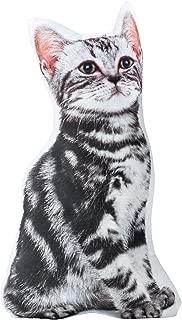 The Paragon Cat Shaped Pillow - Grey Tiger Stripe 3-D Stuffed Cushion