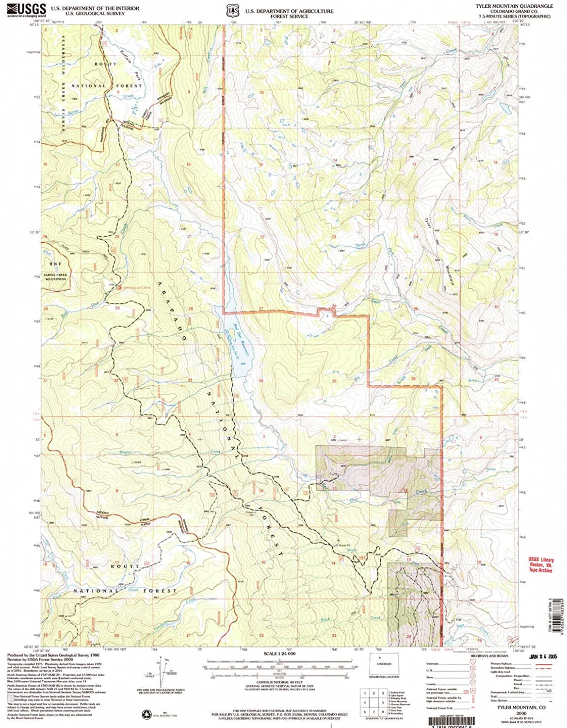 Tyler Mountain CO topo map, 1 24000 Scale, 7.5 X 7.5 Minute, Historical, 2000, Updated 2004, 26.8 x 22.1 in