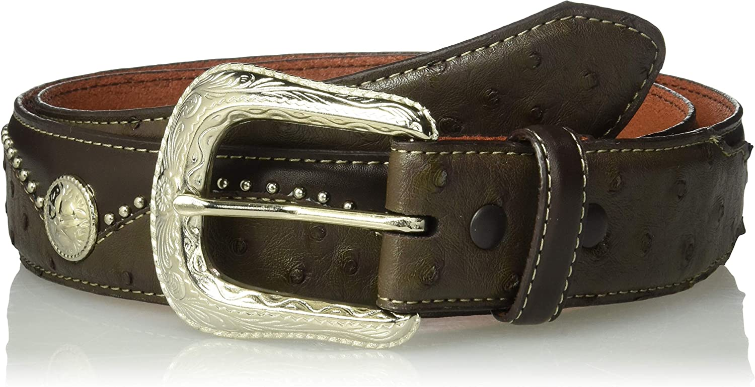 Silver Canyon Men's Leather Embossed Ostrich with Studs and Conchos Brown Belt