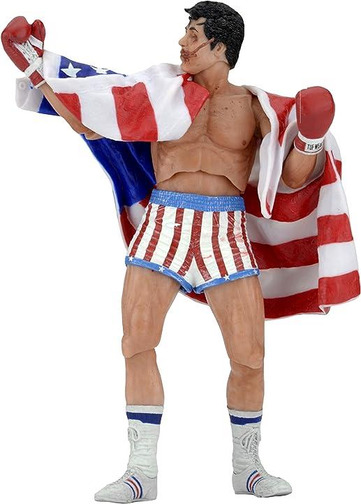 Rocky balboa con bandiera americana action figure di rocky iv 18 cm by neca 53074
