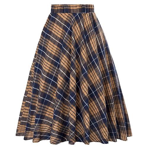 85806a71cc Kate Kasin Women s A-Line Vintage Skirt Grid Pattern Plaid KK633  KK495