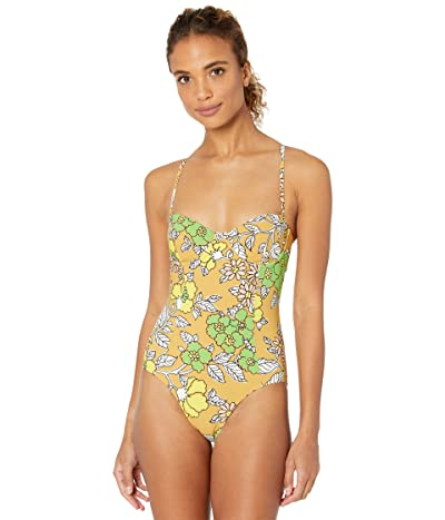 Tory Burch Swimwear Printed Underwire One-Piece (Brown Wallpaper Floral) Women
