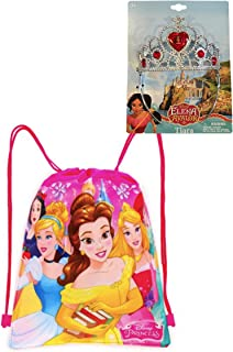 Disney Princess Tiara & Drawstring Tote Bag Set - Belle, Rapunzel or Elena (Elena of Avalor Tiara)