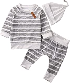 Newborn Baby Boys Girls Breathable Hoodie Sweatshirt Top + Striped Pants Outfits Set TODDLING Around Clothes