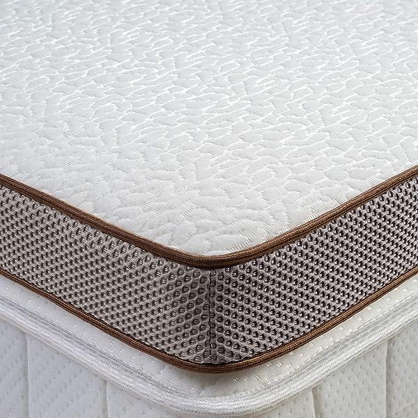 床层 3 英寸记忆泡沫床垫顶部冷却凝胶注入顶部床优质床垫衬垫可拆卸软罩 2 层通风设计 CertiPUR 美国认证泡沫大号