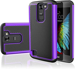 LG K7 Case, LG Tribute 5 Case,TILL [Resilient Series] Shock Absorbing Dual Layer Hybrid Rubber Plastic Impact Defender Rugged Slim Hard Case Cover Shell for LG Tribute 5 / K7 All Carriers [Purple]