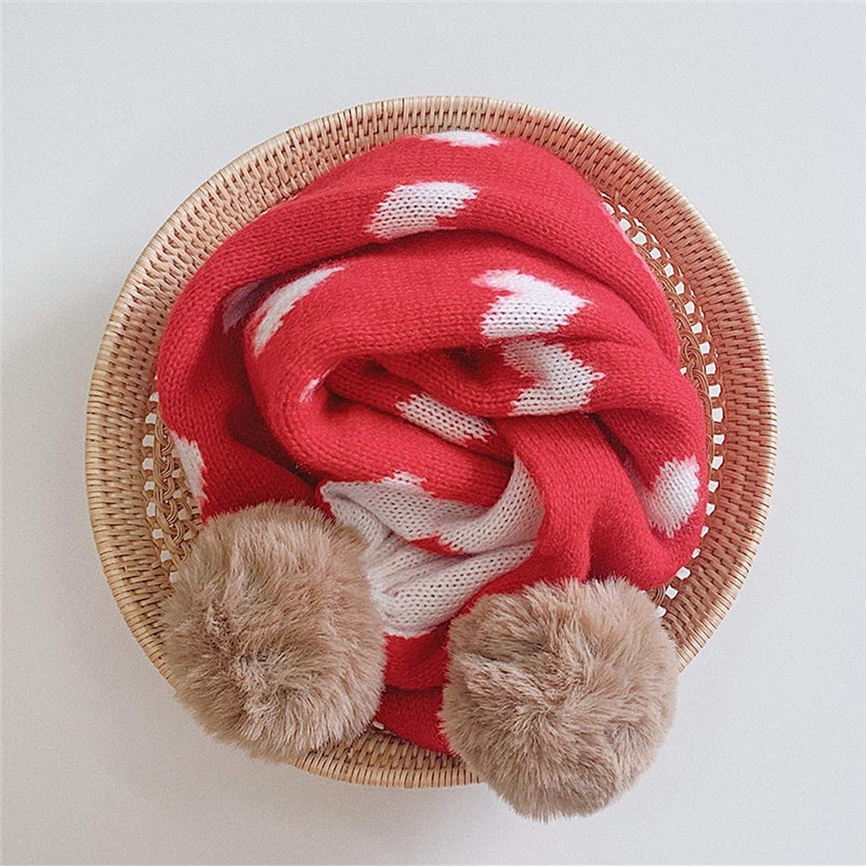 Kids Scarf Winter Warm Knit Scarves Cute Heart Scarfs Fur Pompom Soft Wool Neck Warmer for Girls Boys Toddlers