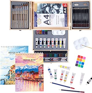 Professional Art Set 85 Piece with Drawing Pads, Deluxe Art Kit in Portable Wooden Case-Painting & Drawing Set,Art Supplie...