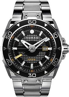 Nubeo - Explorer Reloj automático de 3 manos para hombre con esfera negra y pulsera de acero inoxidable sólido - NB-6014-11